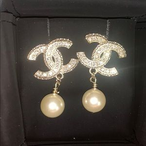 authentic CHANEL pearl drop earrings.